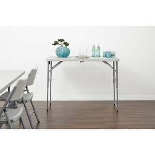 4' Long-Height Adjustable Fold in Half Resin Multi Purpose Table.