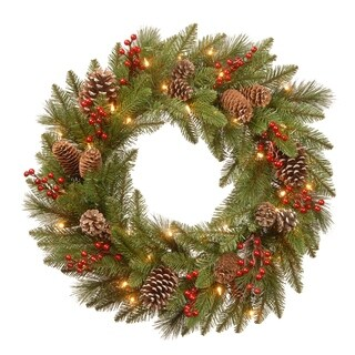 """24"""" Bristle Berry Wreath with Battery Operated LED Lights"""