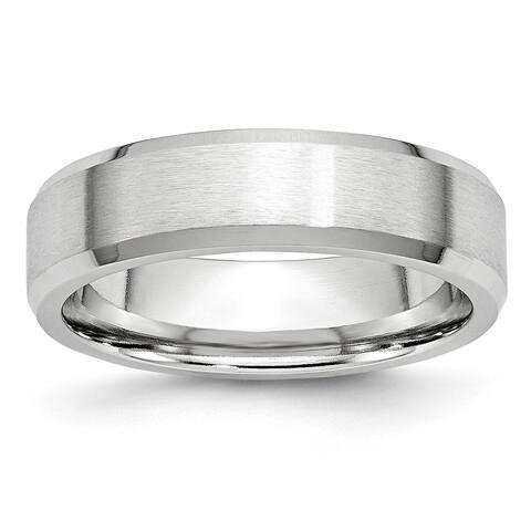 Chisel Cobalt Beveled Edge Satin and Polished 6mm Wedding Band