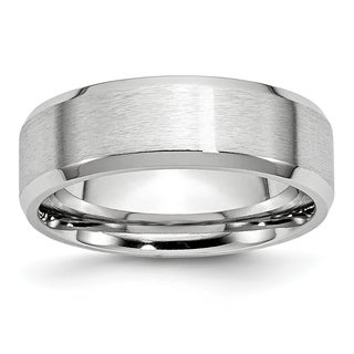 Cobalt Beveled Edge Satin and Polished 7mm Band