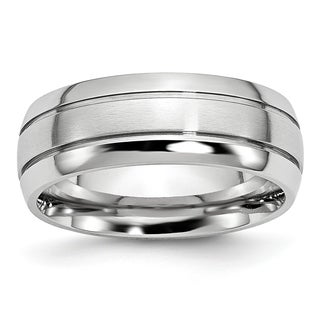 Cobalt Polished and Satin Grooved 8mm Band