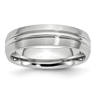 Cobalt Satin and Polished Grooved 6mm Band