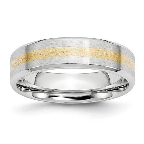 Chisel Cobalt 14 Karat Gold Inlay Satin and Polished 6mm Band