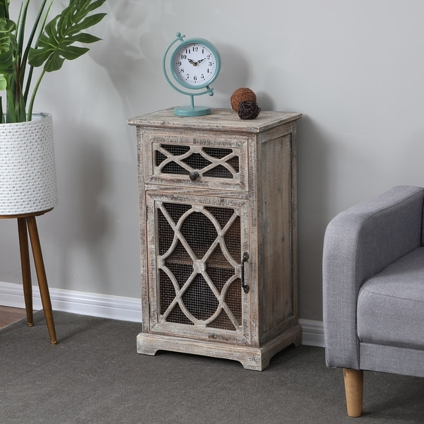 Rustic Wood and Metal Small Console Cabinet