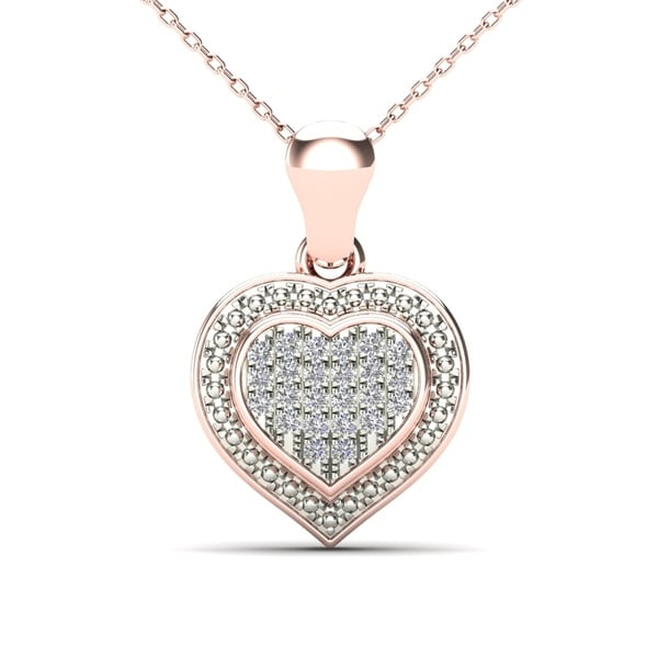 6ed63d17b6d7a Shop AALILLY 10k Rose Gold Diamond Accent Heart Pendant Necklace ...