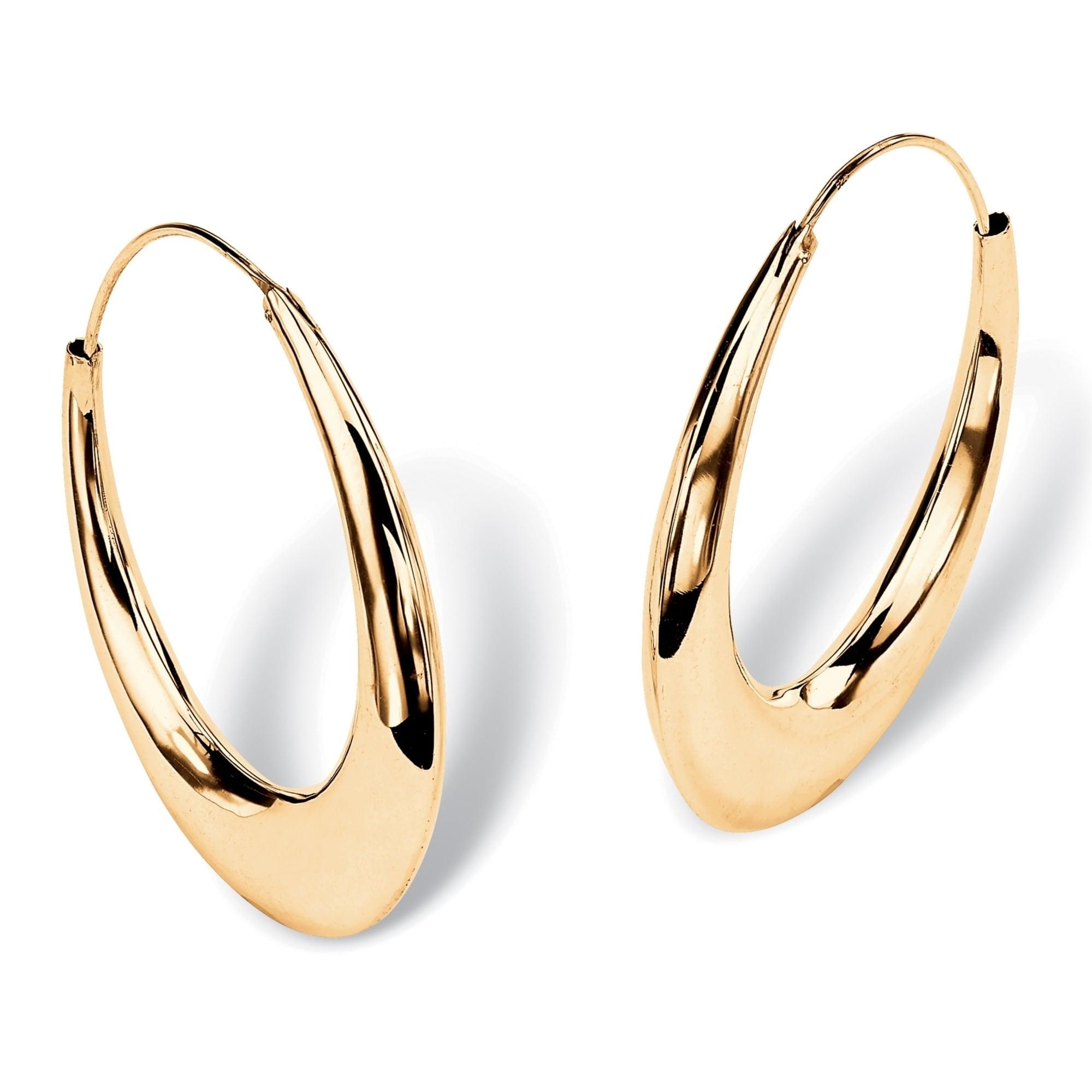 14K Yellow Gold 3mm Two Row Prongs Simulated Diamond Huggie Hoop Earrings Hinged