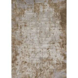 Distressed Abstract Taupe/ Grey Textured Vintage Area Rug - 12' x 15'