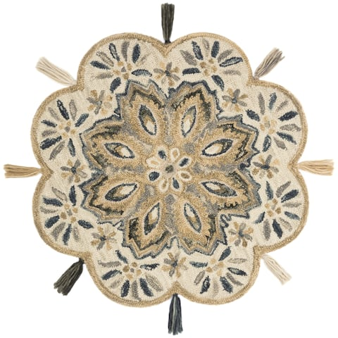 Hand-hooked Ivory/ Beige Floral Round Wool Area Rug - 3' x 3' Round