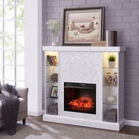 Silver Orchid Niedermann White Mosaic Tiled Curio Infrared Fireplace
