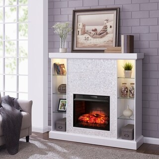 Harper Blvd Causworth Mosaic Tiled Curio Infrared Fireplace, White