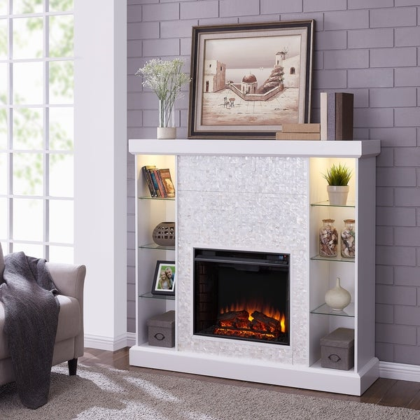 Silver Orchid Niedermann White Mosaic Tiled Curio Electric Fireplace