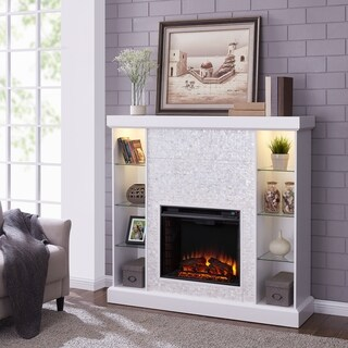 Harper Blvd Causworth Mosaic Tiled Curio Electric Fireplace, White