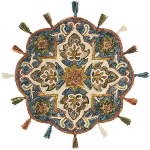 Hand-hooked Blue/ Rust Multi Floral Round Wool Area Rug - 3' x 3' Round