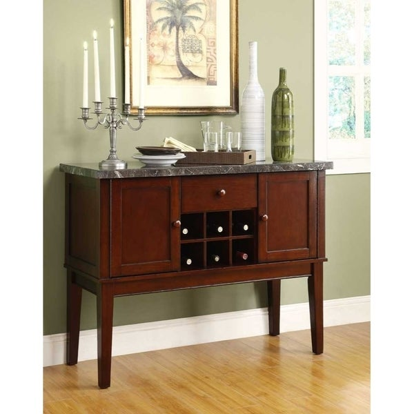 Top Server W Wine Rack: Shop Solid Wooden Marble Top Server With Storage And Wine