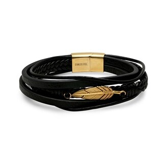 Steeltime Men's black leather multi layered bracelet with 18k gold plated feather