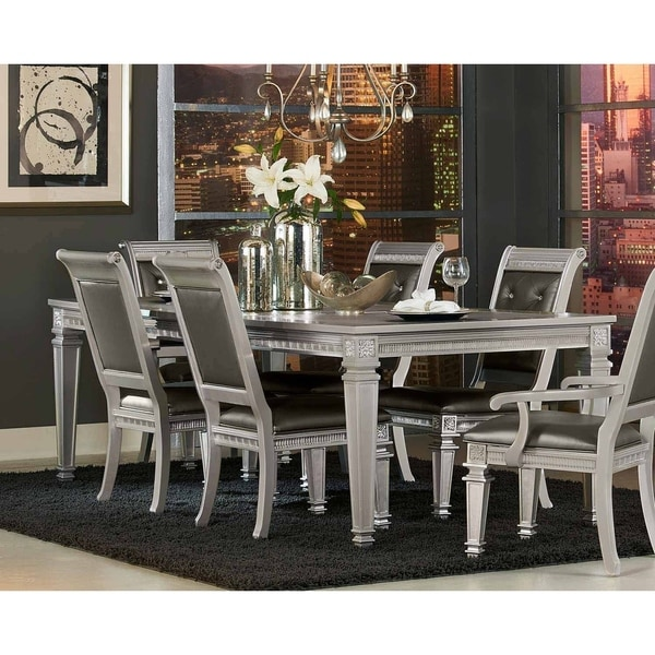 Wooden Dining Table With Extension Leaf, Silver