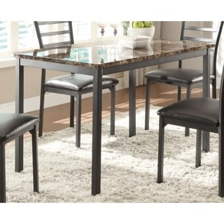 Metal Dining Table With Brown Faux Marble Top, Black