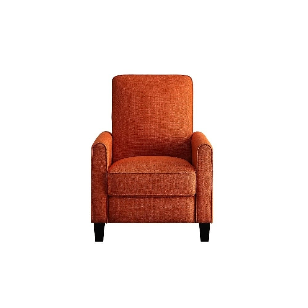 Push Back Recliner Chair With Fabric Upholstery, Orange