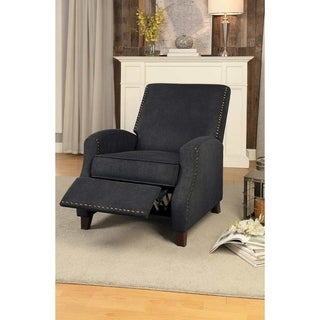 Fabric Upholstered Push Back Recliner Chair with Nail head trim, Gray