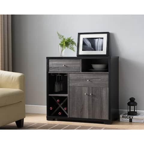 Dual-Tone Wooden Wine Cabinet, Black & Distressed Gray