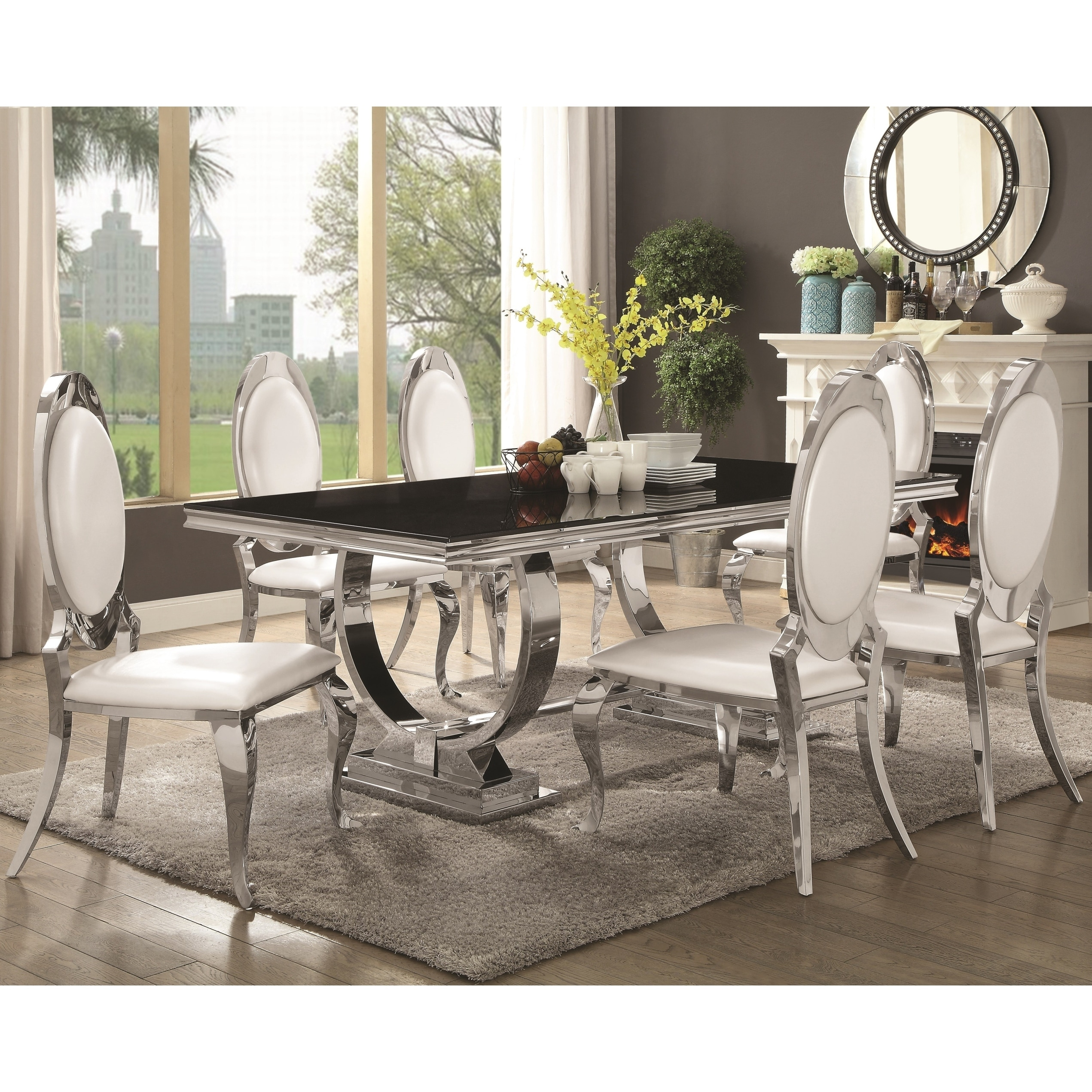 Luxurious Modern Design Stainless Steel Dining Set With Black Glass Table Top Overstock 23491227