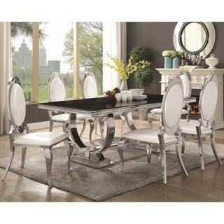 Luxurious Modern Design Stainless Steel Dining Set with Black Glass Table Top