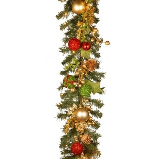 """72"""" Decorated Christmas Garland with Battery Operated LED Lights"""