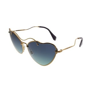Miu Miu Cat-Eye MU 55RS Scenique Collection 7OE5R2 Women Antique Gold Frame Blue Gradient Lens Sunglasses