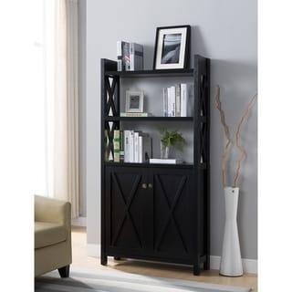 X frame Paneled Wooden File Cabinet, Black