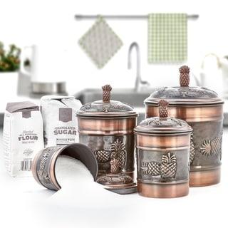"""Link to 4 Piece Antique Copper """"Pineapple"""" Canister Set, 4 Qt, 2 Qt, 1½ Qt, 1 Qt Similar Items in Kitchen Storage"""