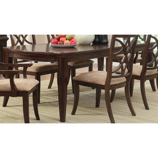 Contemporary Style Wooden Dining Table With Tapered Legs, Rich Cherry Brown