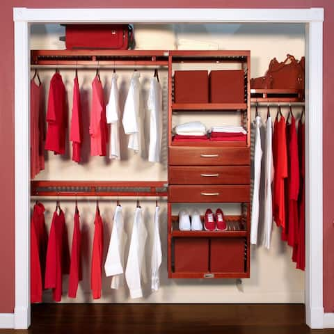 John Louis Home 12in deep Solid Wood 3-Drawer Simplicity Organizer Red Mahogany
