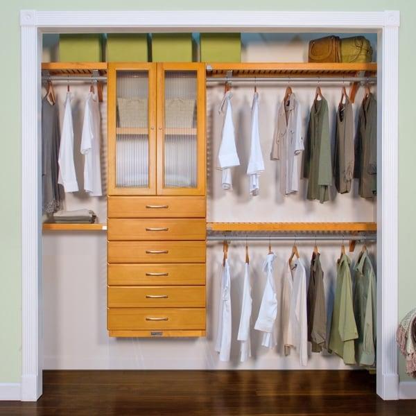 John Louis Home 12in deep Solid Wood 6-Drawer/Doors Premier Organizer Honey Maple