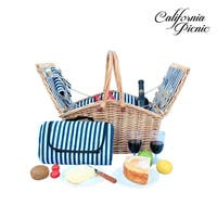 California Picnic - 2 Person Picnic Hamper Set Double Lid Golden Collection Waterproof Picnic Blanket Outdoor Camping