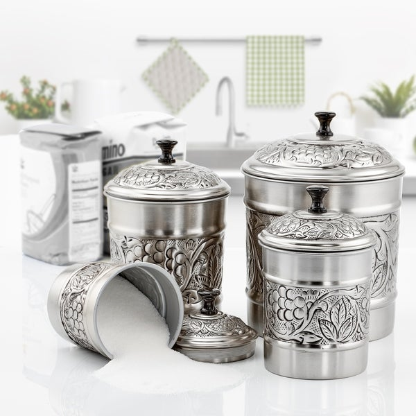 """4 Piece Antique Pewter Embossed """"Heritage"""" Canister Set"""