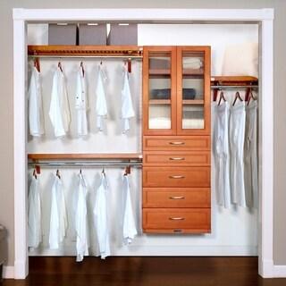 John Louis Home 12in deep Solid Wood 5-Drawer/Doors Woodcrest Premier Organizer Caramel