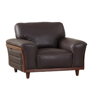 Top Grain Leather Upholstered Wood Trim Living Room Chair