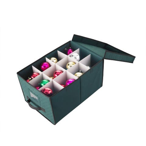 """Elf Stor Christmas Ornament Storage Chest Holds 24 Balls w/ 4"""" Dividers"""