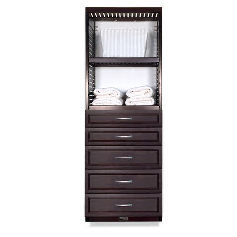John Louis Home 16in deep Solid Wood Deluxe 5 Drawer Woodcrest Storage Tower Espresso