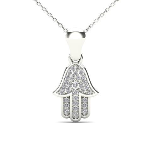 AALILLY 14k White Gold Diamond Accent Hamsa Pendant Necklace (H-I, I1-I2)