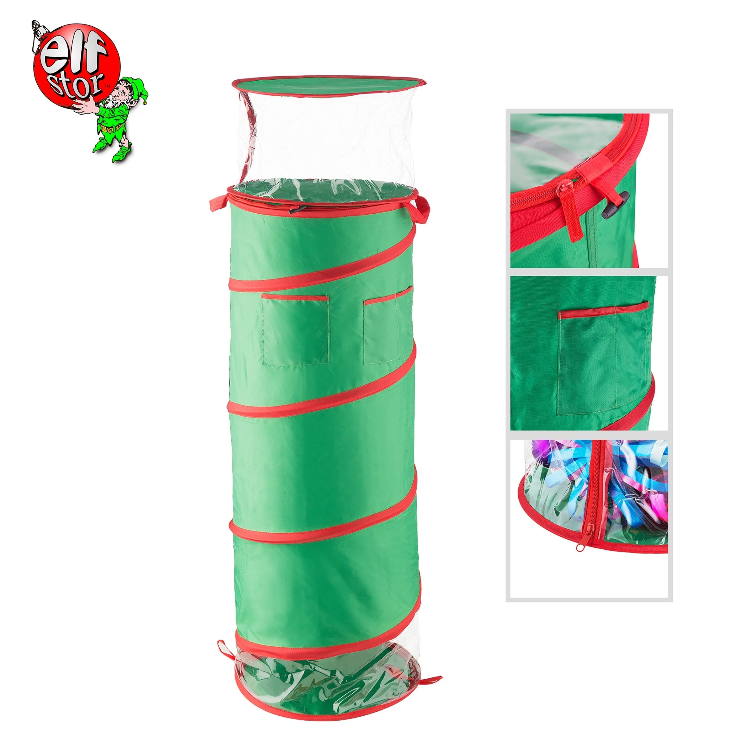 Elf Stor 40 Tall Pop Up Gift Wrap Storage Fold Able Bag Removable Bow Bag On Sale Overstock 23495002