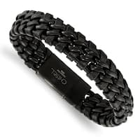 Chisel Stainless Steel Brushed Black IP-plated Black Leather Bracelet - china