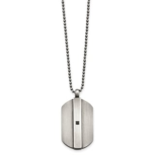 Chisel Stainless Steel Antiqued Brushed with Black CZ Necklace