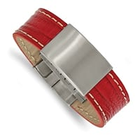 Chisel Stainless Steel Brushed Red Leather 8 Inch ID Bracelet