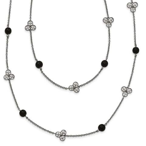 Chisel Stainless Steel Polished Black Acrylic Bead Necklace