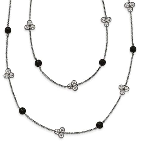 Chisel Stainless Steel Polished Black Acrylic Beaded Necklace