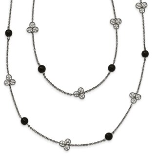 Chisel Stainless Steel Polished Black Acrylic Bead Necklace - china