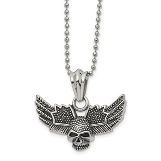 Chisel Stainless Steel Antiqued And Polished Skull With Wings 22 Inch Necklace