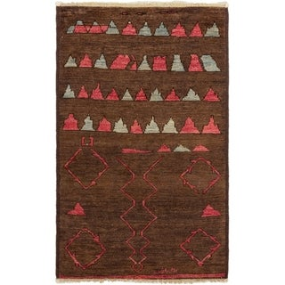 ECARPETGALLERY Hand-knotted Shalimar Brown Wool Rug - 3'9 x 6'0