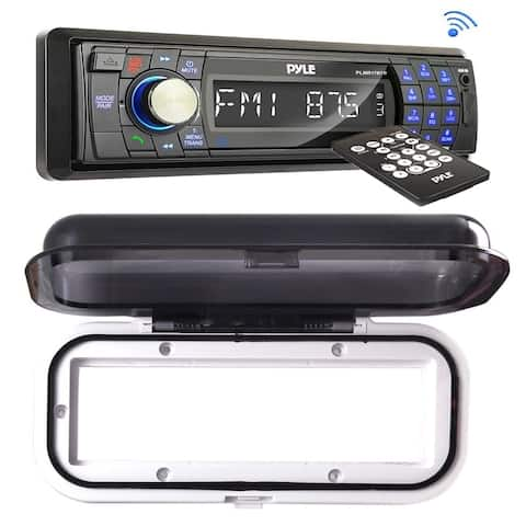 Pyle PLMR17BTB Bluetooth Radio Headunit Receiver, Hands-Free Call Answering, with Water Resistant Shield (Black)